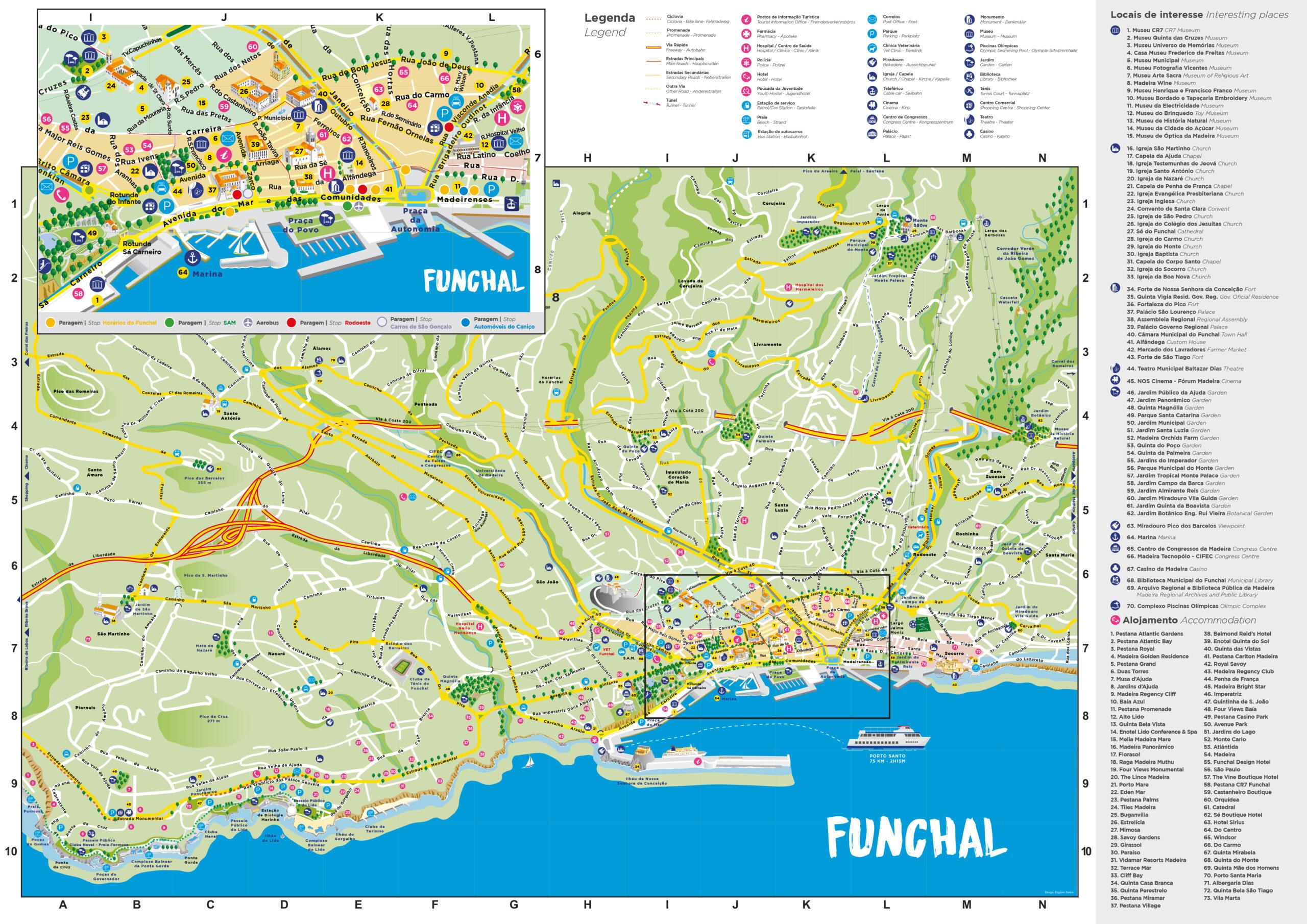 Mapa Funchal, Ilha da Madeira