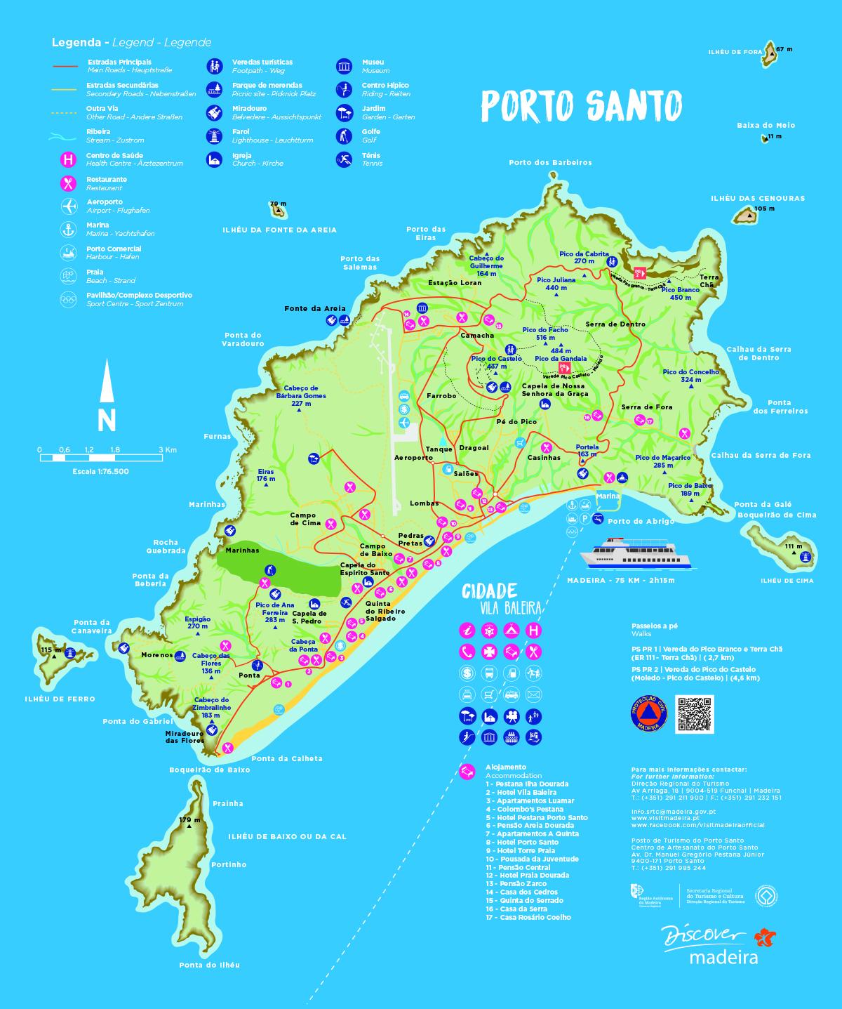 Mapa Ilha de Porto Santo - Madeira, Portugal