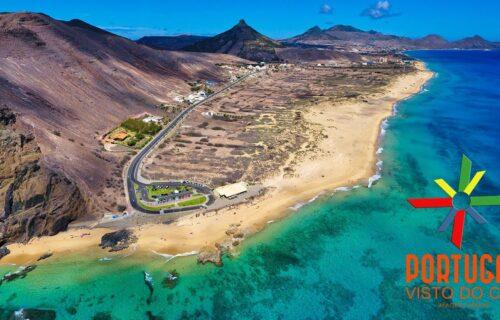 Ponta da Calheta – Ilhéu da Cal – Praia do Cabeço em vista aérea